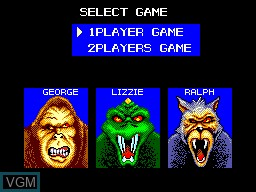 Menu screen of the game Rampage on Sega Master System
