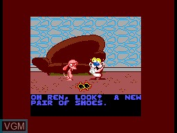Menu screen of the game Ren & Stimpy - Quest for the Shaven Yak, The on Sega Master System