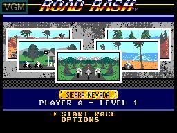 Menu screen of the game Road Rash on Sega Master System