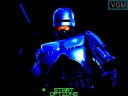 Menu screen of the game Robocop 3 on Sega Master System