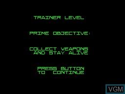 Menu screen of the game Robocop versus The Terminator on Sega Master System