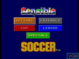 Menu screen of the game Sensible Soccer on Sega Master System