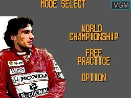 Menu screen of the game Ayrton Senna's Super Monaco GP II on Sega Master System