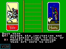 Menu screen of the game Ultima IV - Quest of the Avatar on Sega Master System