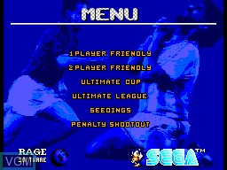 Menu screen of the game Ultimate Soccer on Sega Master System