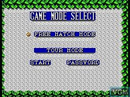 Menu screen of the game Wimbledon on Sega Master System