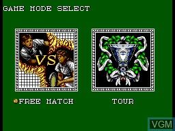 Menu screen of the game Wimbledon II on Sega Master System