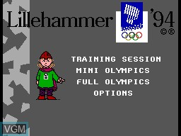 Menu screen of the game Winter Olympics '94 on Sega Master System