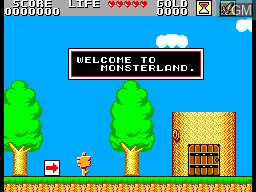 Menu screen of the game Super Wonder Boy - Monster World on Sega Master System