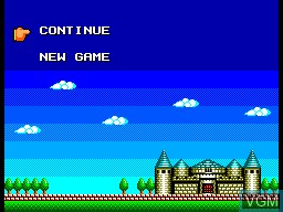 Menu screen of the game Wonder Boy III - The Dragon's Trap on Sega Master System