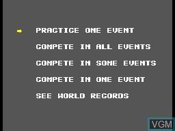 Menu screen of the game World Games on Sega Master System