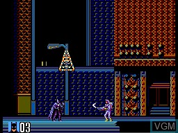 In-game screen of the game Batman Returns on Sega Master System