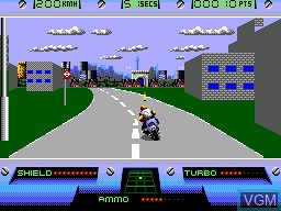 In-game screen of the game OutRun Europa on Sega Master System