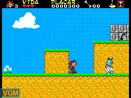 In-game screen of the game As Aventuras da TV Colosso on Sega Master System