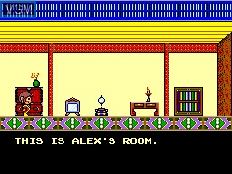In-game screen of the game Alex Kidd in High Tech World on Sega Master System