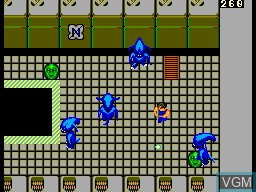 In-game screen of the game Alien Syndrome on Sega Master System