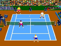 In-game screen of the game Andre Agassi Tennis on Sega Master System