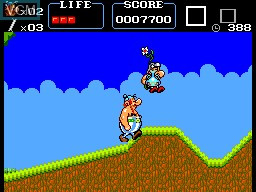 In-game screen of the game Asterix on Sega Master System