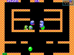 In-game screen of the game Bubble Bobble on Sega Master System