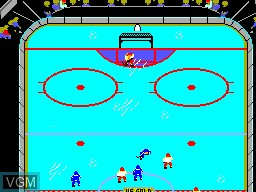 In-game screen of the game Championship Hockey on Sega Master System