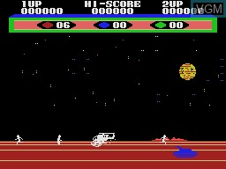 In-game screen of the game Choplifter on Sega Master System