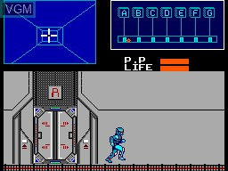 In-game screen of the game Cyborg Hunter on Sega Master System