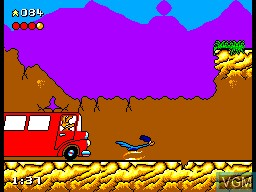 In-game screen of the game Desert Speedtrap - Starring Road Runner and Wile E. Coyote on Sega Master System
