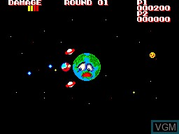 In-game screen of the game Galactic Protector on Sega Master System