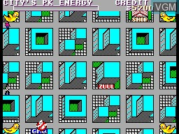 In-game screen of the game Ghostbusters on Sega Master System