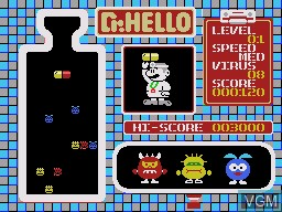 In-game screen of the game Dr. HELLO on Sega Master System
