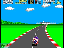 In-game screen of the game Hang-On on Sega Master System
