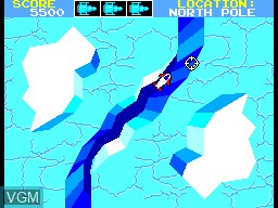 In-game screen of the game Missile Defense 3-D on Sega Master System