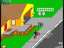 In-game screen of the game Paperboy on Sega Master System