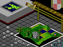 In-game screen of the game Populous on Sega Master System