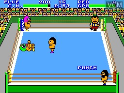 In-game screen of the game Pro Wrestling on Sega Master System