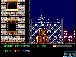In-game screen of the game Robocop 3 on Sega Master System