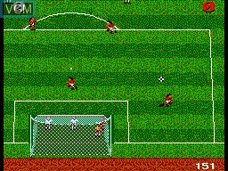 In-game screen of the game Ultimate Soccer on Sega Master System
