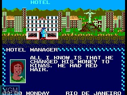 In-game screen of the game Where in the World is Carmen Sandiego on Sega Master System