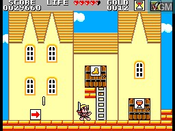 In-game screen of the game Super Wonder Boy - Monster World on Sega Master System