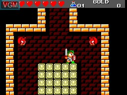 In-game screen of the game Wonder Boy III - The Dragon's Trap on Sega Master System