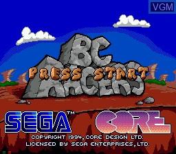 Title screen of the game BC Racers on Sega Mega CD