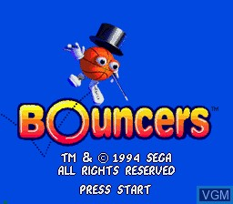 Title screen of the game Bouncers on Sega Mega CD