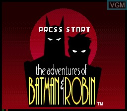 Title screen of the game Adventures of Batman and Robin, The on Sega Mega CD