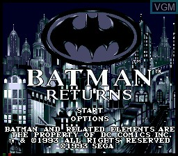 Title screen of the game Batman Returns on Sega Mega CD