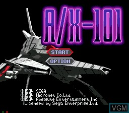 Title screen of the game AX-101 on Sega Mega CD