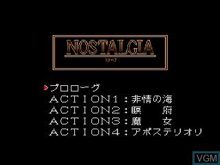 Title screen of the game Nostalgia 1907 on Sega Mega CD