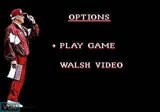 Menu screen of the game Bill Walsh College Football on Sega Mega CD