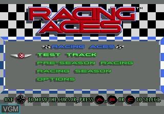 Menu screen of the game Racing Aces on Sega Mega CD