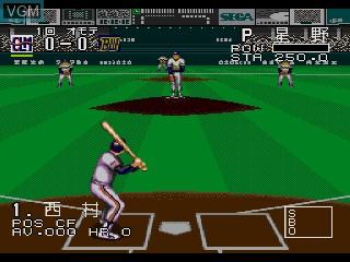 In-game screen of the game Pro Yakyuu Super League CD on Sega Mega CD