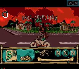 In-game screen of the game BC Racers on Sega Mega CD